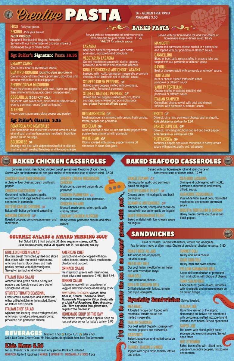 casseroles pasta sandwiches menu