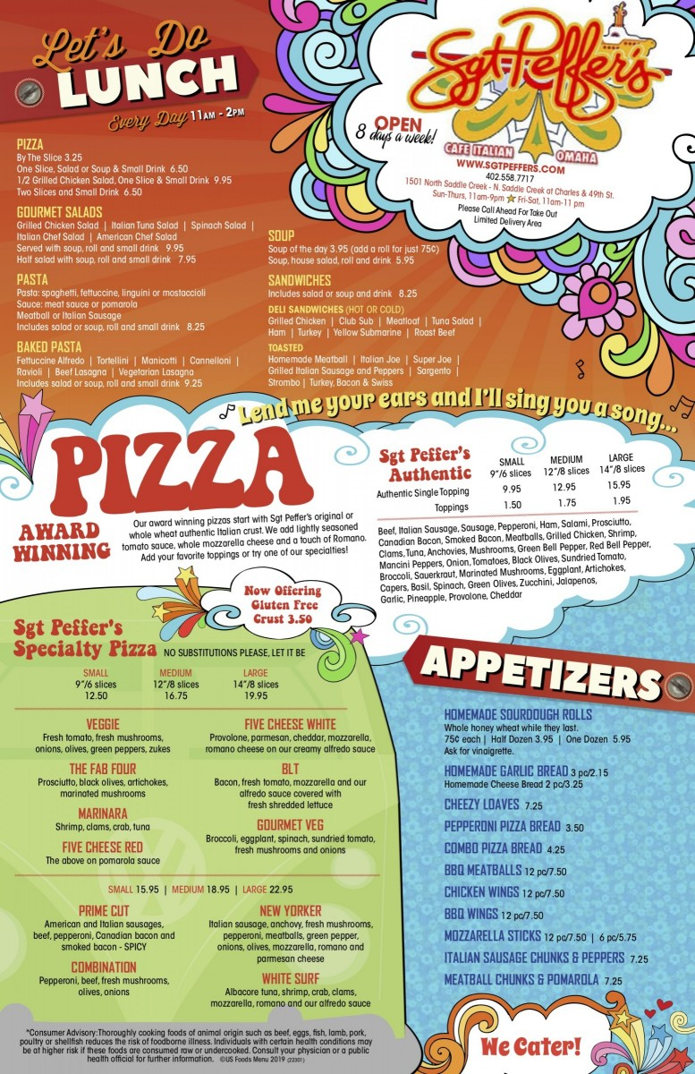 Appetizers Lunch Pizza Menu